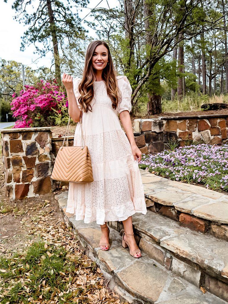 Spring flowers, girl in dress